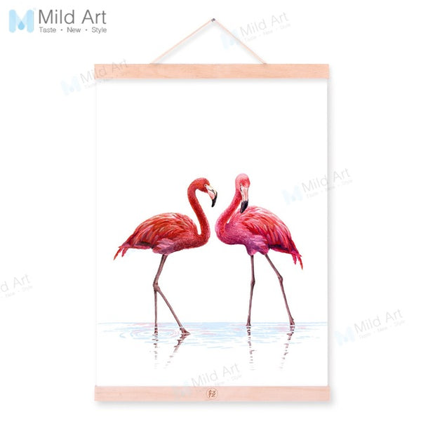 Watercolor Minimalist Flamingo Wooden Framed Poster And Print Nordic 3 piece Scroll Wall Art Pictures Home Decor Canvas Painting