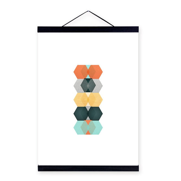 Modern Abstract Posters Print Nordic Style Home Decor Living Room Geometric Wall Art Pictures Scroll Wood Framed Canvas Painting