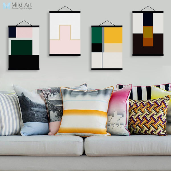 Abstract Color Geometric Shape Wooden Framed Posters Nordic Living Room Wall Art Print Picture Home Decor Canvas Painting Scroll