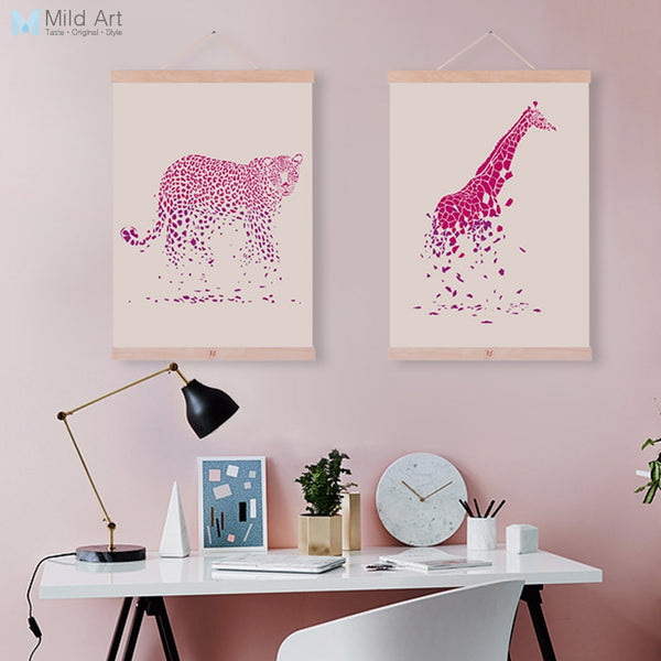 Pink Watercolor Animal Leopard Giraffe Nordic Living Room Wooden Framed Canvas Painting Home Deco Wall Art Picture Poster Scroll
