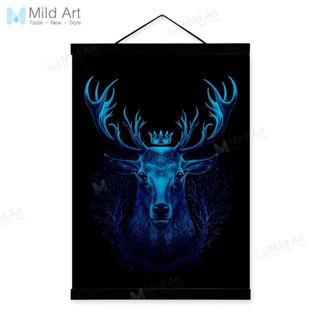Minimalist Animals Black White Deer Wooden Framed Poster And Print Nordic Scroll Wall Art Pictures Home Decor Canvas Painting