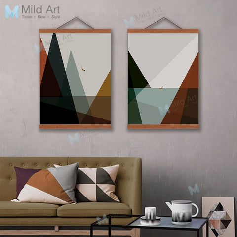 Modern Abstract Poster Sea Landscape Nordic Living Room Home Decor Vintage Scroll Wall Art Picture Wooden Framed Canvas Painting
