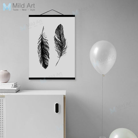 Minimalist Vintage Retro Feather Wooden Framed Poster Nordic Living Room Wall Art Print Picture Home Deco Canvas Painting Scroll