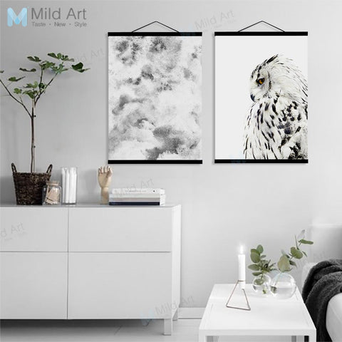 Abstract Mountain Landscape Eagle Wooden Frame Poster Nordic Living Room Wall Art Picture Home Decoration Canvas Painting Scroll