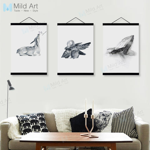Oriental Ink Mother Animals Family Deer Whale Wooden Framed Posters Wall Art Pictures Home Decor Canvas Paintings Hanger Scroll