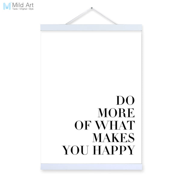 Black White Modern Motivational Happy Quotes Wooden Framed A4 Canvas Painting Home Decor Wall Art Print Pictures Poster Scroll