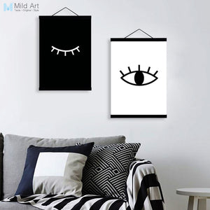 Black White Minimalist Eyes A4 Wooden Framed Posters Nordic Living Room Wall Art Canvas Painting Home Decor Print Picutre Scroll