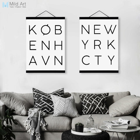 Nordic Minimalist Typography New York City Wooden Framed Poster Wall Art Canvas Painting Modern Home Decor Prints Picture Scroll