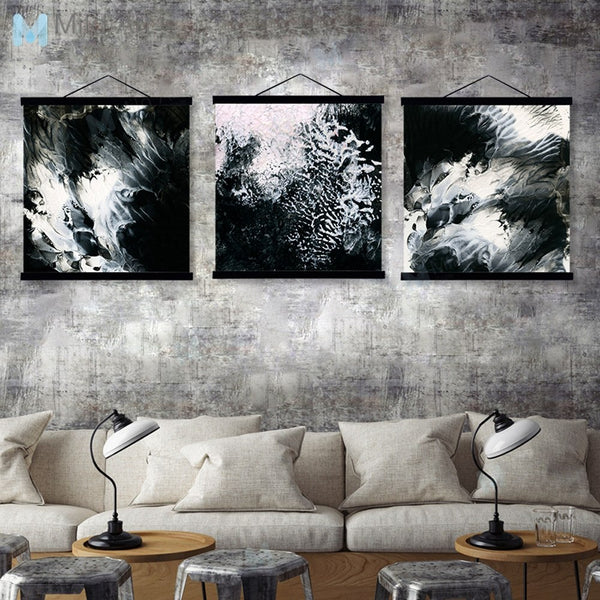 Black White Abstract River Wooden Framed Poster And Print Nordic 3 Piece Scroll Wall Art Pictures Home Decor Canvas Painting