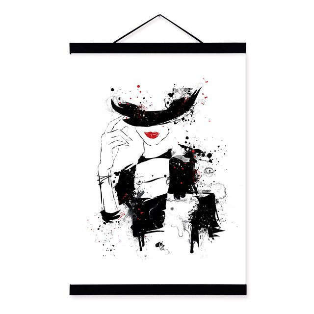 Beautiful Fashion Lady Red Lips Nordic Girls Room Wooden Framed Canvas Painting Home Decor Wall Art Print Pictures Poster Scroll
