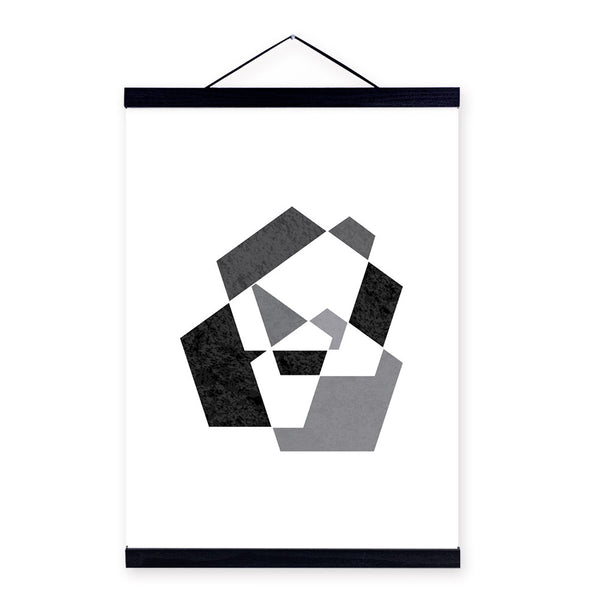 Modern Abstract Black White Geometric Shape Wooden Framed Canvas Painting Nordic Home Decor Wall Art Print Picture Poster Scroll
