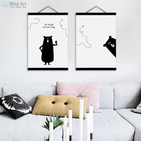 Modern Black White Cute Animal Wooden Framed Canvas Paintings Kawaii Bear Nursery Kids Room Decor Wall Art Print Pictures Poster