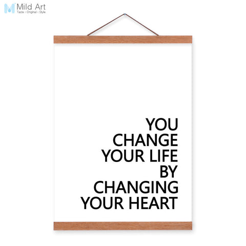 Minimalist Change Life Change Heart Quotes Wooden Framed Canvas Painting Living Room Decor Wall Art Print Pictures Poster Hanger
