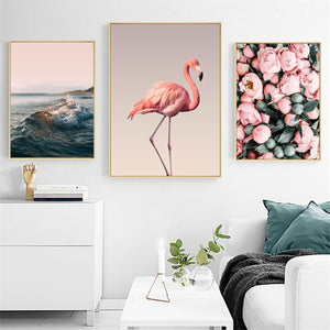 Flamingo Flower Nordic Canvas Painting Seascape Wall Art Print Picture For Living Room Bedroom Home Decor Painting No Frame