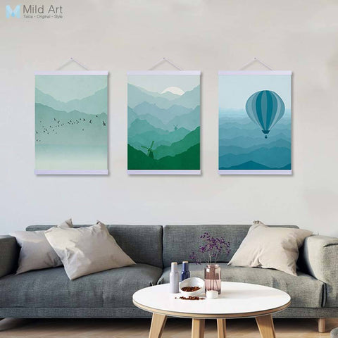 Abstract Landscape Lighthouse Bollon Sun Wooden Framed Canvas Paintings Modern Nordic Home Decor Wall Art Print Pictures Poster
