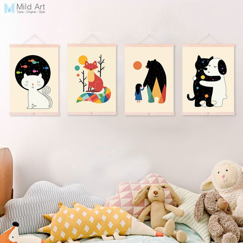 Colorful Cute Animals Friend Hug Cat Bear Dog Kids Room Wooden Framed Canvas Painting Home Decor Wall Art Pictures Poster Scroll