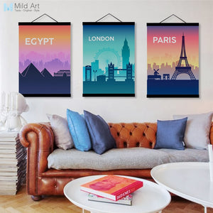 Famous City Silhouette Paris Eiffel Tower Wooden Framed Canvas Painting Modern Wall Art Pictures Home Decor Poster Hanger Scroll