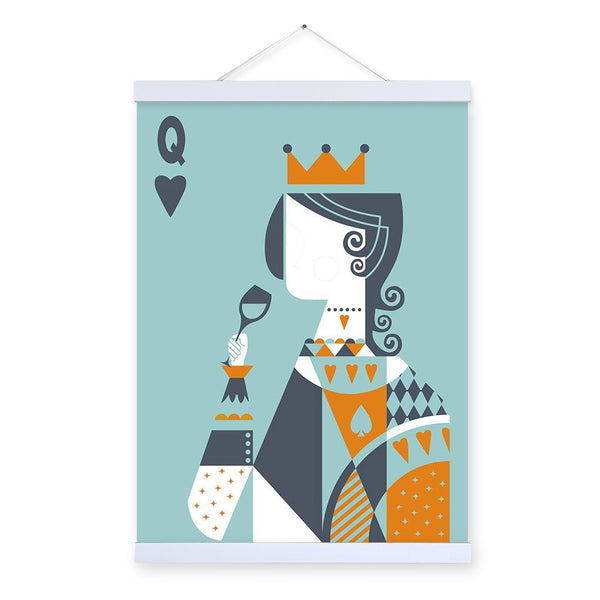 Vintage Retro Abstarct Poker King Queen Love Couple Wooden Framed Posters Wall Art Pictures Wedding Decor Canvas Painting Scroll