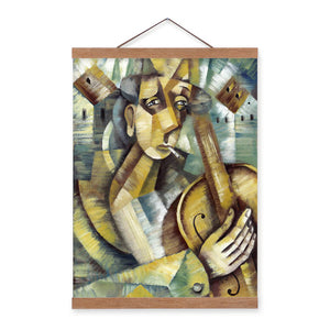 Abstract Three Dimensional Characters Wooden Framed Poster And Print Retro Scroll Wall Art Pictures Home Decor Canvas Painting