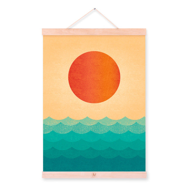 Vintage Retro Minimalist Sunset Wooden Framed Posters Oriental Living Room Wall Art Pictures Home Decor Canvas Paintings Scroll