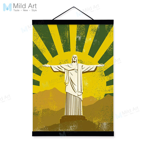 Vintage Retro Famous Statue of Christ Liberty Wooden Frame Poster Living Room Wall Art Picture Home Decor Canvas Painting Scroll