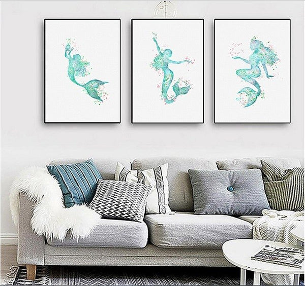 Nordic simple spray paintings painted on canvas Mermaid decorative painting love fish