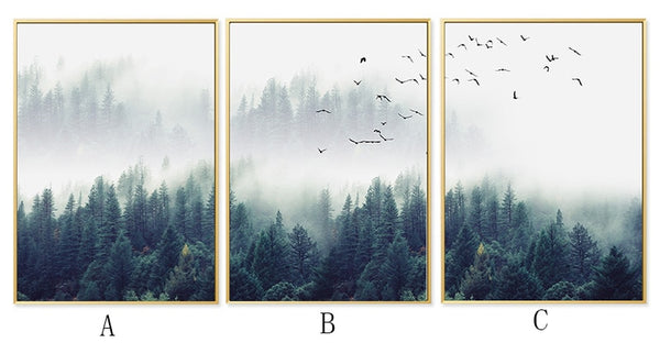 Nordic Decoration Forest Lanscape Wall Art Canvas Poster and Print Canvas Painting