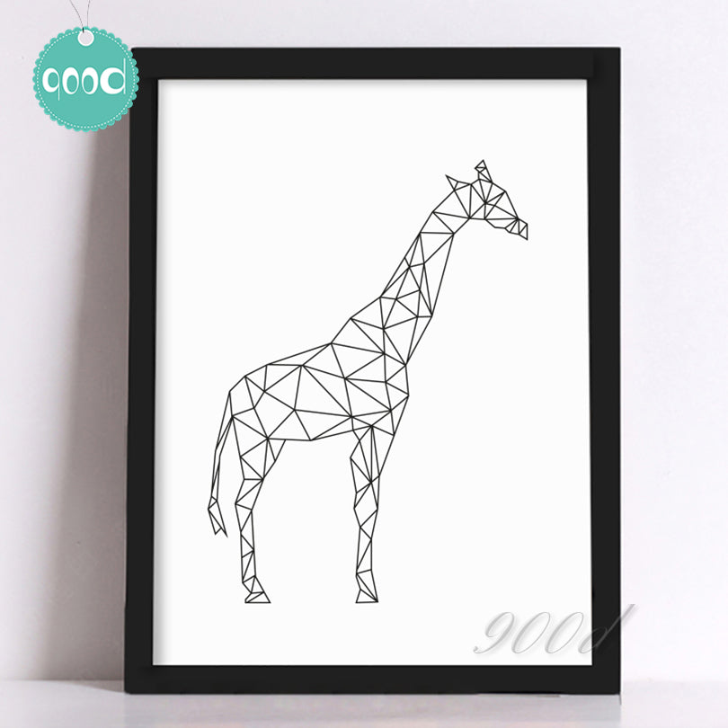 Geometric Giraffe Canvas Art Print Painting Poster, Wall Pictures for Home Decoration, Wall decor FA221-5