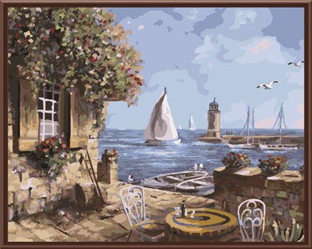 New Framed Picture DIY Painting By Numbers DOY Canvas Oil Painting Wedding Decor Home Decor Of Seascape House GX8056