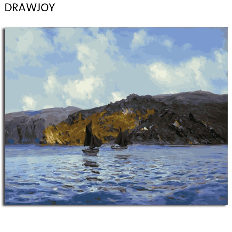 DRAWJOY Framed Seascape DIY Painting By Numbers Wall Art For Living Room Canvas Oil Painting For Home Decor 40*50cm