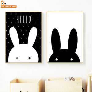 Black White Miffy Rabbit Wall Art Print Canvas Painting Nordic Poster Cartoon Wall Pictures