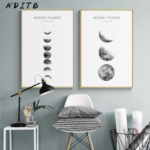 Moon Phase Canvas Posters and Prints Minimalist Luna Wall Art Abstract Painting Nordic