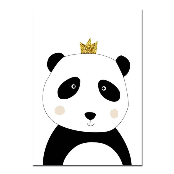 Cartoon Panda Canvas Poster Wall Art Nursery Print Painting Nordic Kids Decoration