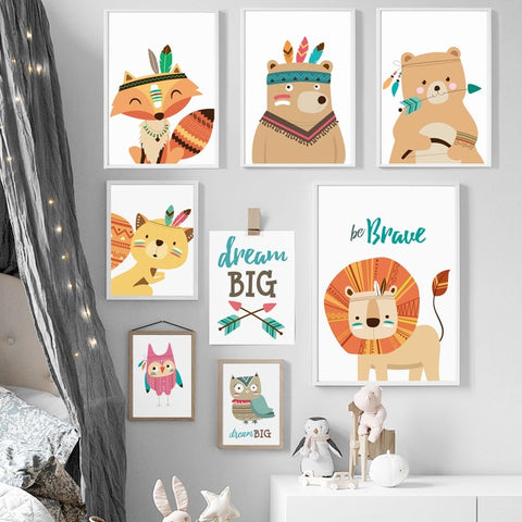 Deer Fox Lion Bear Owl Dream Nordic Posters And Prints Wall Art Canvas Painting Animal