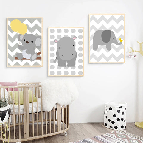 Cartoon Baby Bear Elephant Hippo Wall Art Canvas Painting Nordic Posters And Prints