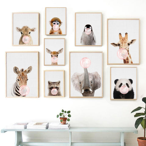 Wall Art Canvas Painting Panda Deer Elephant Penguin Balloon Nordic Posters