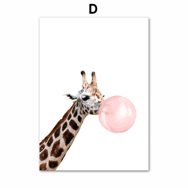 Cartoon Zebra Giraffe Koala Balloon Nordic Posters And Prints Wall Art Canvas Painting Animal