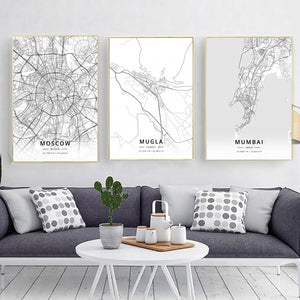 Modern Famous World City Map Moscow Mugla Mumbai City Poster Nordic Living Room Wall Art