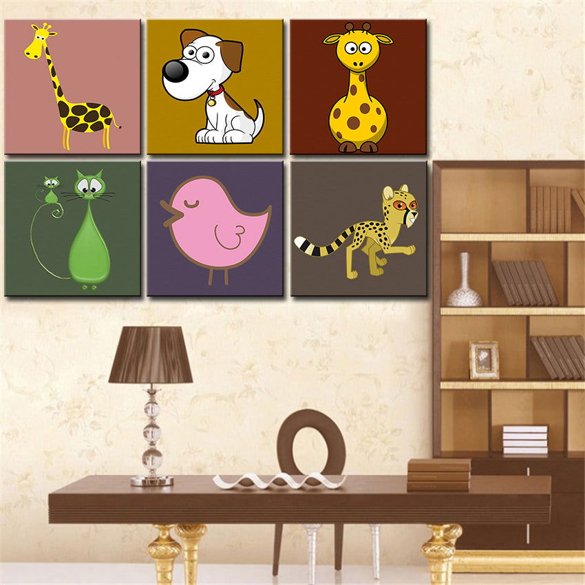 creative wall art Canvas painting Oil Painting 6 pieces/set Modern cartoon animals wall pictures kids room wall decor No Frame