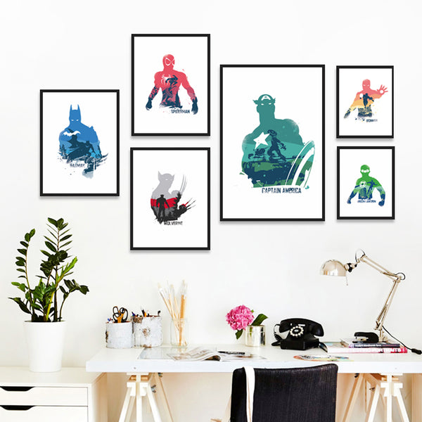 Poetry Movie Comics Superhero Werewolf Captain Spiderman A4 Canvas Painting Art Print