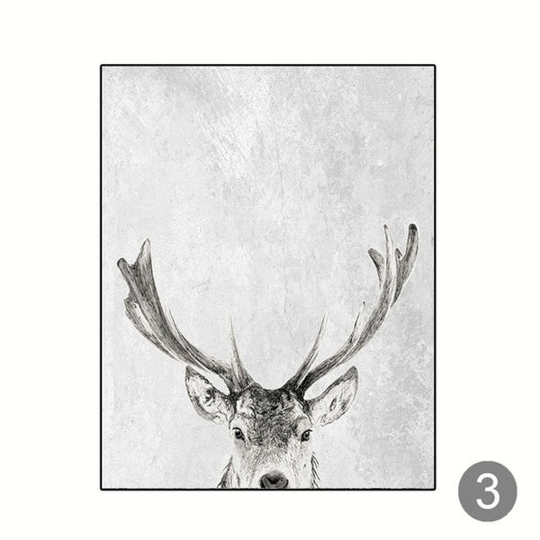 Modern Scandinavian Wall Art Grey White Tree Canvas Painting Deer Animal Posters and Prints