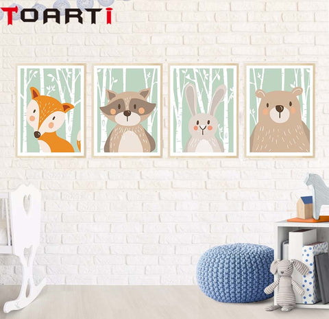 Cartoon Animal Bear Fox Rabbit Minimalist Art Canvas Poster Painting Print Modern Home Room