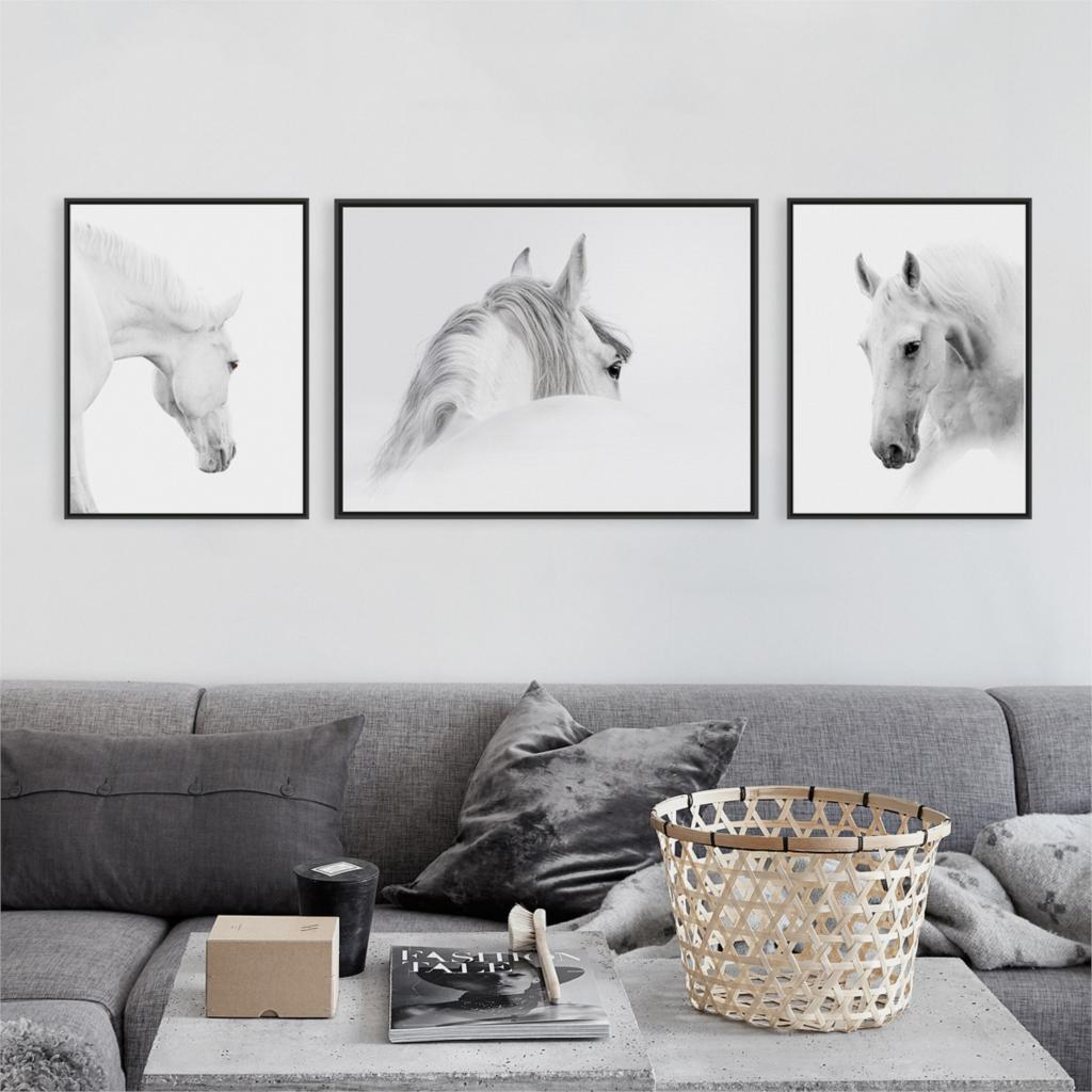 Wild Animals White Horse Head Large Canvas Art Print Poster Wall ...