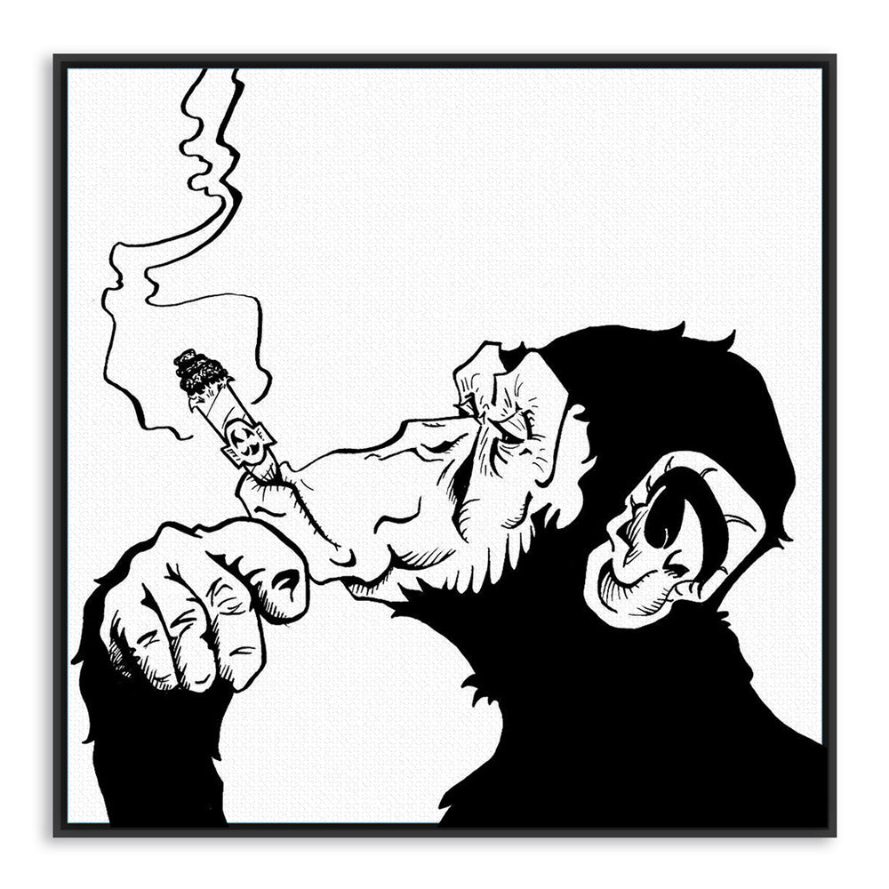 Black White Animals Smoking Gorilla Modern Abstract Canvas Art Print