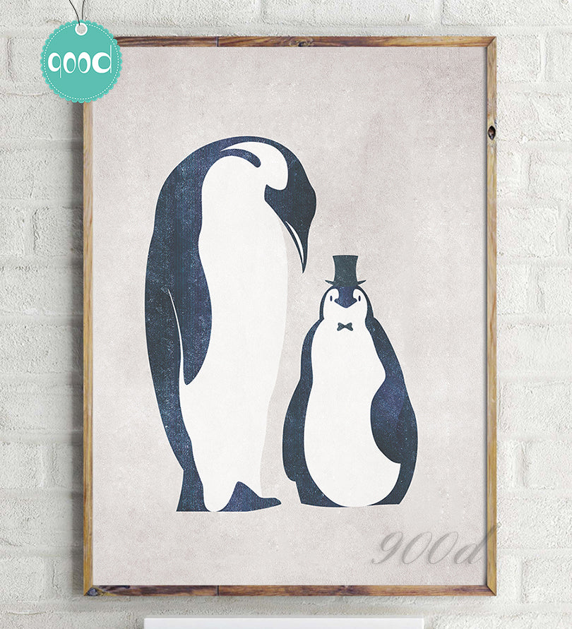 Vintage Cartoon Penguin Baby Canvas Art Print Painting Poster,  Wall Pictures for Home Decoration, Nursery Home Decor YE63