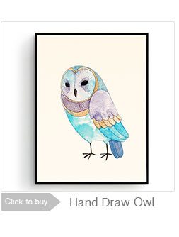 Watercolor Owls Canvas Art Print Poster,  Wall Pictures for Home Decoration, Giclee Wall Decor CM025-1
