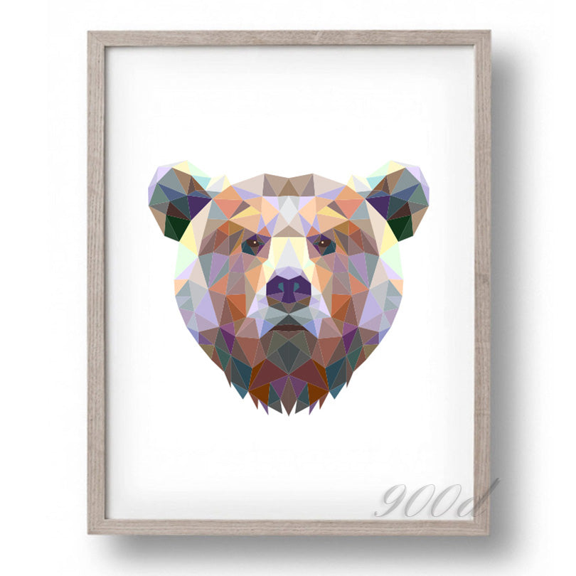 Triangle Bear Canvas Art Print Painting Poster,  Wall Pictures for Home Decoration, Home Decor FA386-2