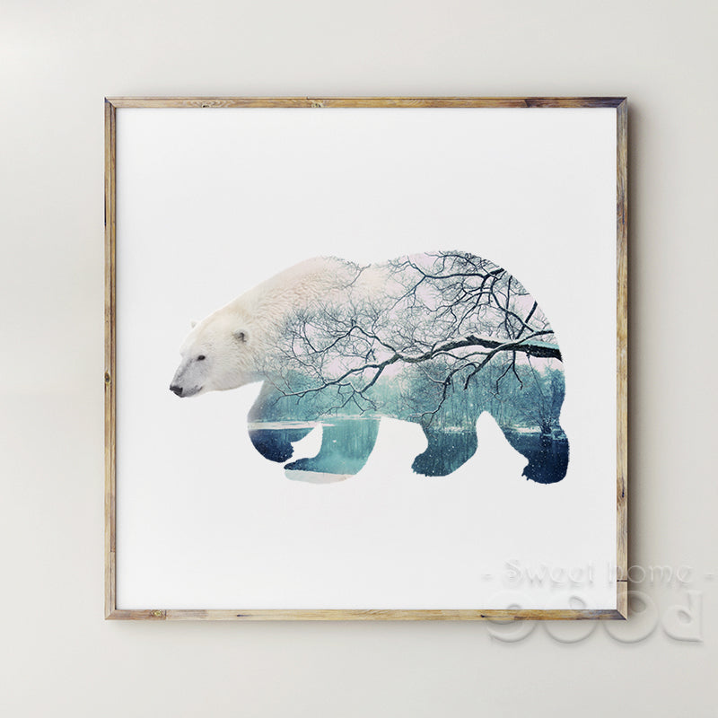 Polar Bear with Snow scene Canvas Art Print Poster, Wall Pictures for Home Decoration, Wall Decor YE117