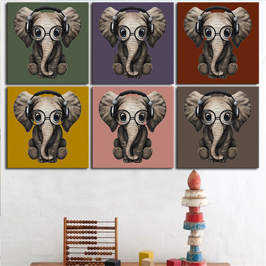 elephant wall art Canvas painting Oil Painting 6 pieces/set Modern cartoon animals wall pictures kids room wall decor No Frame