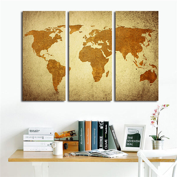 3 Pcs Canvas Oil Painting Vintage World Map Wall Art for Living Room Retro Yellow Maps Painting Wall Pictures Home Decoration